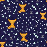Seamless blue background, illustration of yellow cats, bright triangles and gray mice royalty free illustration
