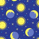 Seamless blue background with decorative image of sun, moon, stars. royalty free illustration