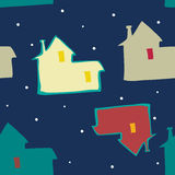 Seamless blue background night sky and houses Stock Photos