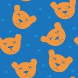 Seamless blue background with orange bears Stock Photo