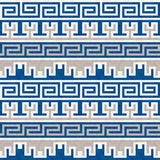 Seamless blue and beige Greek pattern Royalty Free Stock Images