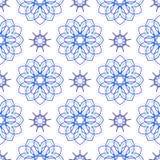 Seamless of blue big flowers and nine angle stars Stock Image