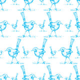 Seamless of blue bird drawing pattern vector Royalty Free Stock Photography
