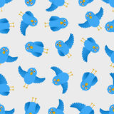 Seamless blue bird illustration pattern Stock Photos