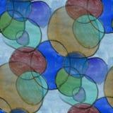 Seamless blue brown green circle watercolor Royalty Free Stock Photo