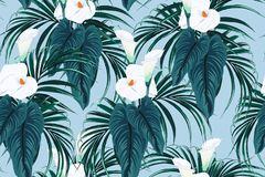 Seamless blue calla lilies flower background, elegant fashion colorful pattern with flowers and palm leaves. vector illustration