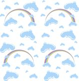 Seamless blue clouds and rainbow cartoon background on white Stock Images