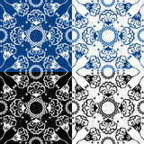 Seamless blue color and black and white floral patterns. Stock Images