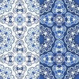 Seamless blue color floral patterns. Stock Photos