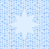 Seamless blue color pattern, snowflake or star frame, winter background Royalty Free Stock Photography