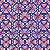 Seamless Blue and Coral Floral Pattern Stock Photos