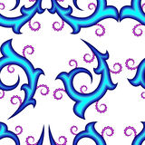 Seamless of blue curly pattern. Curly ornament with curly round circles for your design Royalty Free Stock Photos