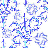 Seamless of blue curly pattern. Seamless curly ornament for your design Stock Image