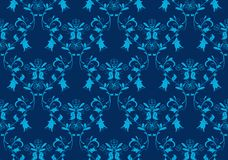 Seamless blue damask background. Seamless vintage beauty blue damask background Royalty Free Stock Images