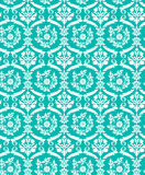 Seamless blue damask bird pattern Royalty Free Stock Images