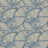 Seamless blue doodle paisley pattern Stock Photo