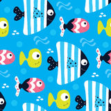 Seamless blue fish pattern vector illustration Stock Images