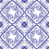 Seamless blue floral pattern. Background in the style of Chinese Royalty Free Stock Images