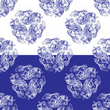 Seamless blue floral pattern. Background in the style of Chinese. Painting on porcelain or Russian gzhel style Stock Photos
