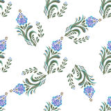 Seamless blue floral pattern vector illustration