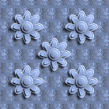 Seamless blue floral pattern 3D. Royalty Free Stock Photo