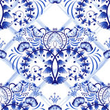 Seamless blue floral pattern with lattice strips of watercolor. Imitation of painting on porcelain in the Russian style Gzhel or C Royalty Free Stock Images