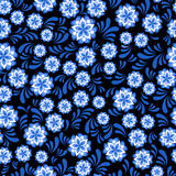 Seamless blue floral pattern in Russian gzel style vector illustration