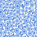 Seamless blue floral pattern in Russian gzel style Royalty Free Stock Images