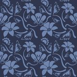 Seamless blue floral  pattern,  vector. Endless texture can be used for wallpaper, pattern fills, web page  background,  surface t Stock Photo