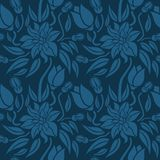 Seamless blue floral  pattern,  vector. Endless texture can be used for wallpaper, pattern fills, web page  background,  surface t Royalty Free Stock Photography