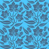 Seamless blue floral  pattern,  vector. Endless texture can be used for wallpaper, pattern fills, web page  background,  surface t. Extures and fabrics Royalty Free Stock Photo
