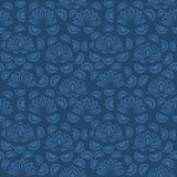 Seamless blue floral  pattern,  vector. Endless texture can be used for wallpaper, pattern fills, web page  background,  surface t Stock Photos