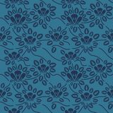 Seamless blue floral pattern, vector. Endless texture can be used for wallpaper, pattern fills, web page background, surface t Stock Images