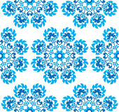 Seamless blue floral Polish folk art pattern - wzory lowickie, wycinanki Stock Photo