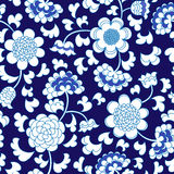 Seamless blue floral porcelain china background Royalty Free Stock Photos