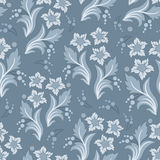 Seamless blue floral vector wallpaper pattern. Seamless floral pattern for design, vector Illustration stock illustration
