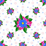 Seamless blue flower pattern on light background. Seamless floral pattern with blue flowers on white background, with circles. Vector illustration. Can be used Stock Images