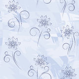 Seamless  with blue  flowers Stock Photos