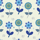 Seamless blue flowers Stock Photography