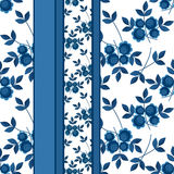 Seamless blue flowers pattern background. Seamless blue flowers pattern striped background Royalty Free Stock Image