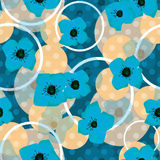 Seamless blue flowers pattern with circles background Stock Images