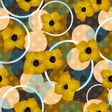 Seamless blue flowers pattern with circles background Stock Photography