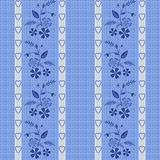 Seamless blue flowers pattern striped background. Specks Royalty Free Stock Photography
