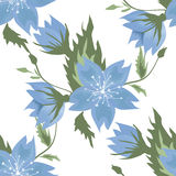Seamless blue flowers pattern Stock Images