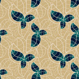 Seamless blue foliage. Blue leaves with contour foliage background. Seamless tile Stock Photography