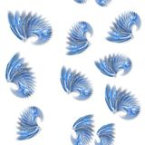 Seamless blue fractal wings pattern on white Royalty Free Stock Images