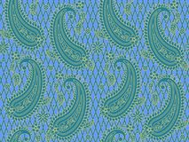 Seamless blue and gold paisley pattern vector illustration