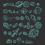 Seamless  blue icons set  with doodle space elements on dark background  . Vector illustration with hand drawn doodle space elemen Stock Photos