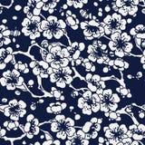 Seamless Blue Japanese Background Cross Plum Blossom Stock Image