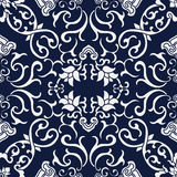 Seamless Blue Japanese Background Cross Spiral Vine Flower Stock Image